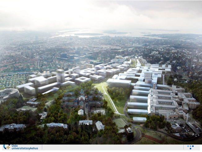 DIREKTØRENS DRØM: Dette er en av de tidlige skissene av  «Campus Oslo». Sykehusbygget er lagt i en forlengelse av Rikshospitalet og var lagt over et stort område ned  mot og over Ringveien som passerer forbi Ullevål Stadion ikke langt unna. Veien ønsket man å legge i tunell.