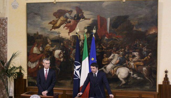 FELLES APPELL: Generalsekretær i NATO, Jens Stoltenberg, og den italienske statsministeren Matteo Renzi, er begge bekymret for situasjonen i Ukraina og i Libya.