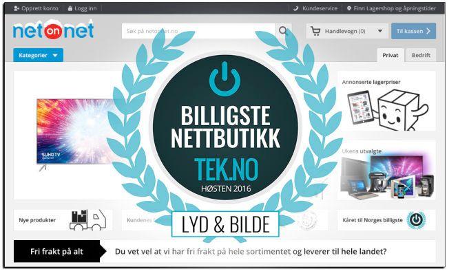 1f4c9ac2 Netonnet er årets billigste nettbutikk i kategorien Lyd & Bilde. Foto:  Montasje , Tek.no