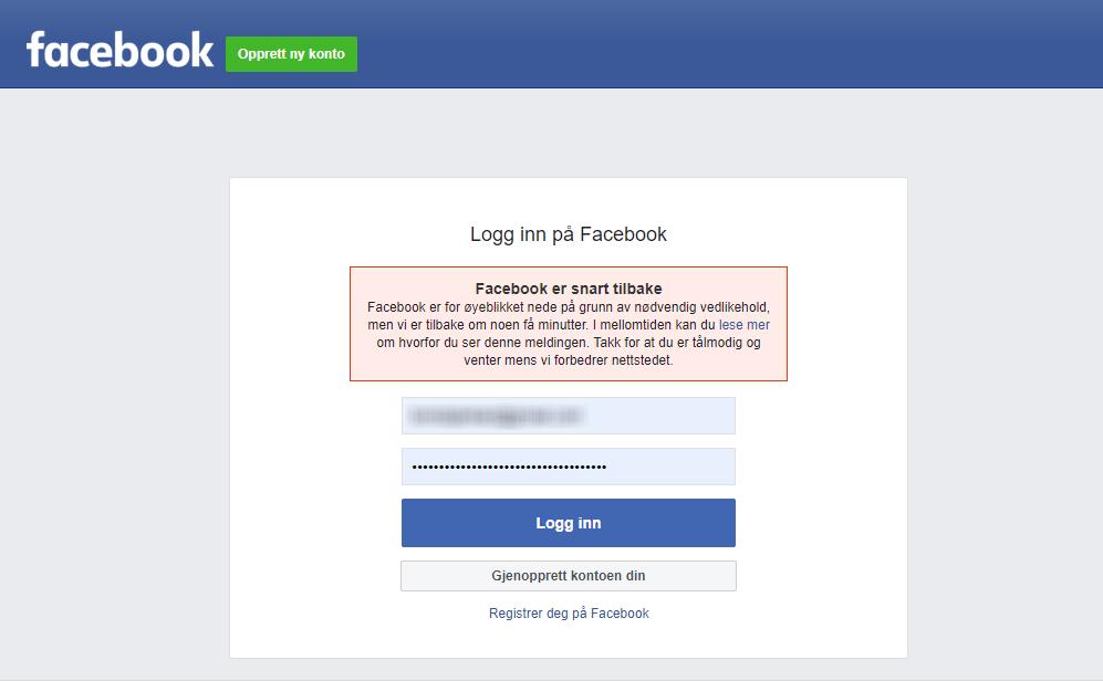 «NØDVENDIG VEDLIKEHOLD»: Dette er beskjeden brukere i en rekke land fikk opp da de forsøkte å logge seg inn på Facebook onsdag ettermiddag. Torsdag morgen er problemene langt færre, ser det ut til.