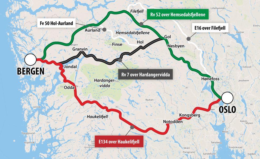ANBEFALER: Statens vegvesen anbefaler at riksvei 52 blir den andre hovedveien mellom Vestlandet og Østlandet i tillegg til E134.