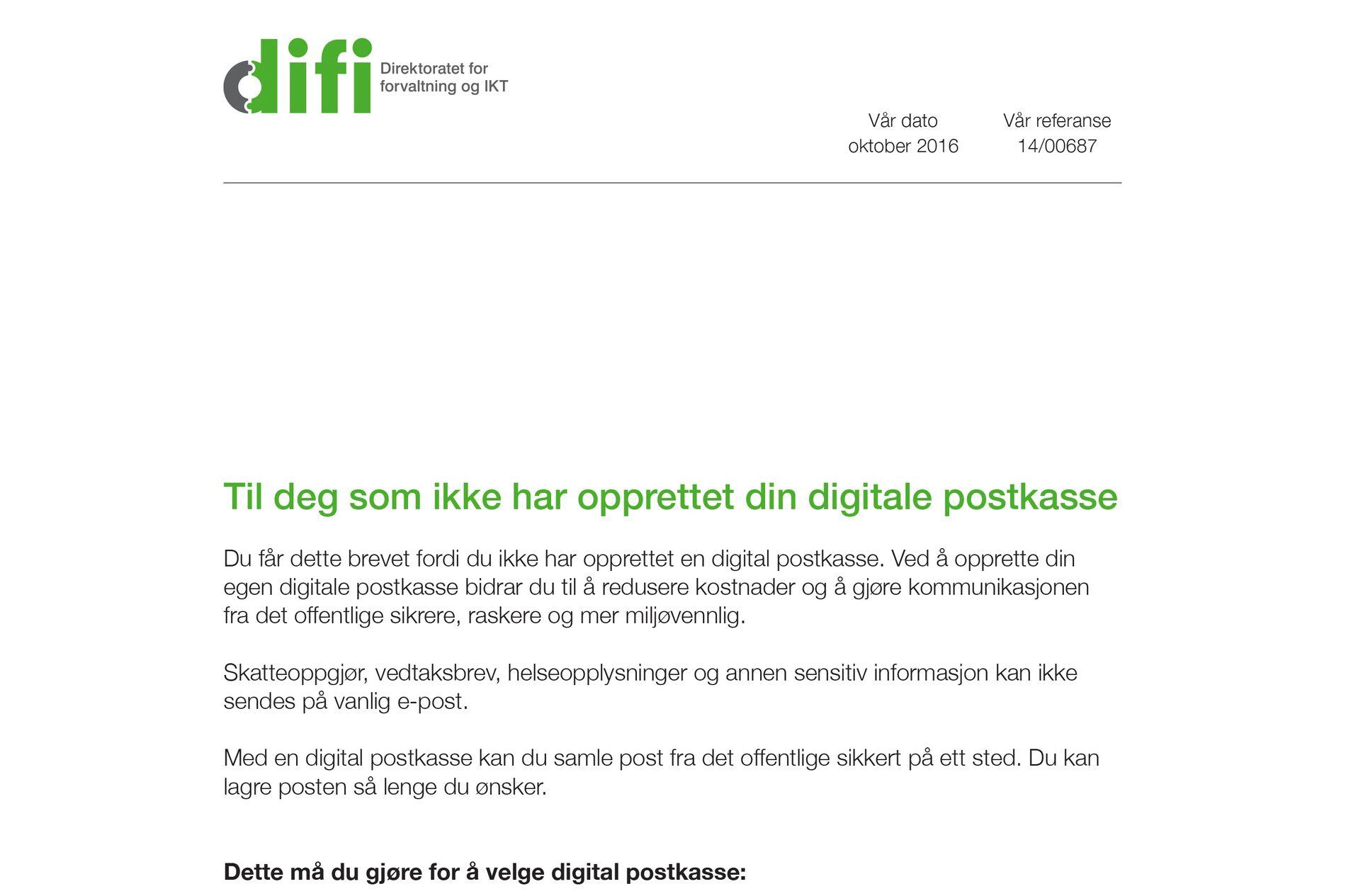 DIGITAL POSTKASSE: Direktoratet for forvaltning og IKT (Difi) har beregnet at digital postkasse kan spare det offentlige for 400 millioner kroner årlig.