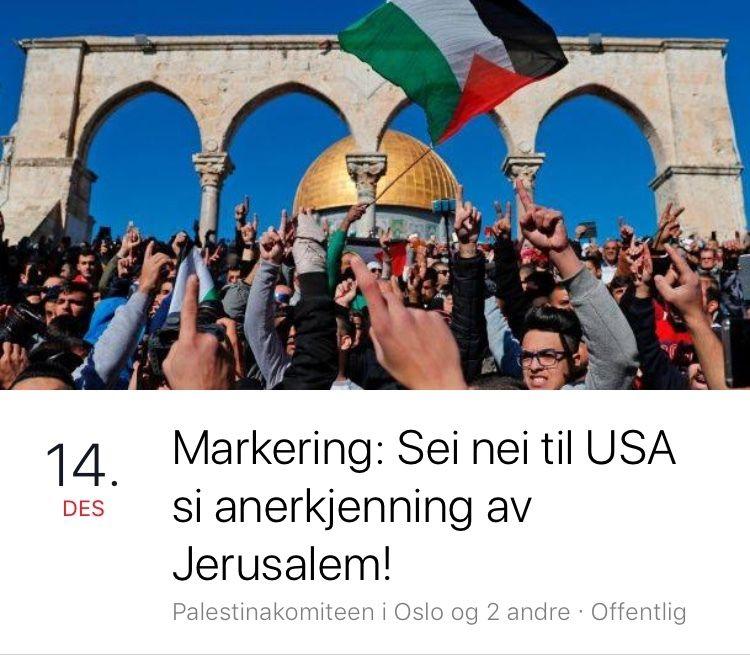 FJERNET: Demonstrasjonen mot USA og Donald Trumps bryter med Facebooks retningslinjer, får Palestinakomiteen beskjed om.