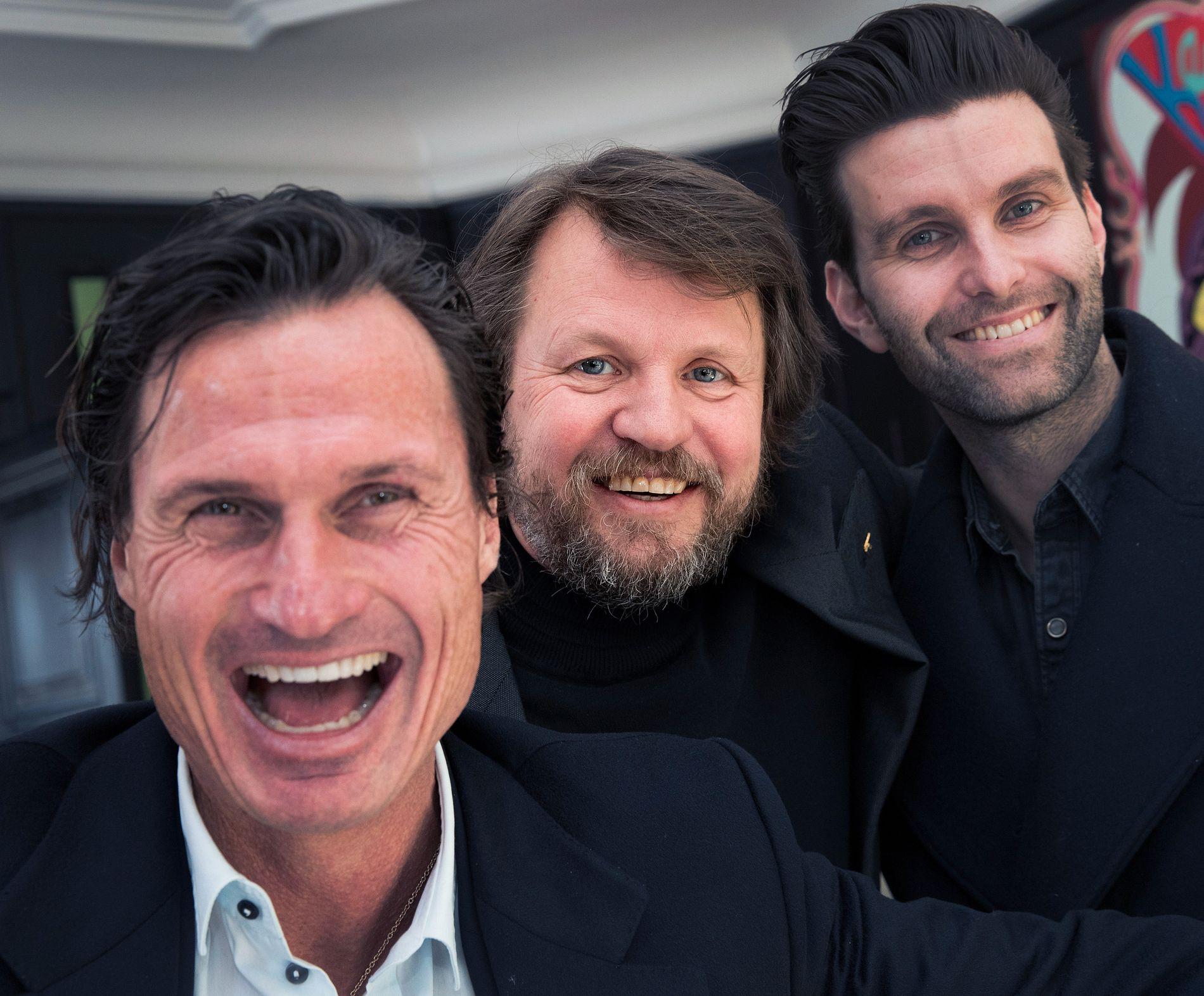 STORDALEN UTVIDER: Petter Stordalen og forlegger Jonas Forsang (t.h), her med krimforfatter Tom Egeland (midten) har ansatt forlagssjef for Capitana og Pilar.