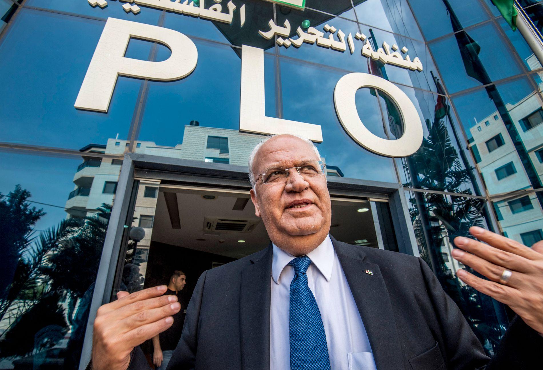 OPTIMIST: Saeb Erekat er en het kandidat til å overta som palestinernes president. VG traff ham ved PLOs hovedkvarter i Ramallah tirsdag.