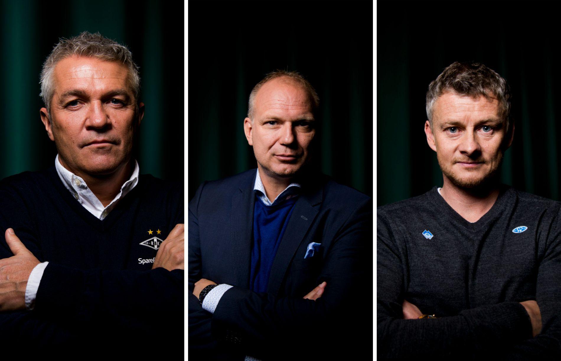 FAVORITTER: Kåre Ingebrigtsens RBK, Dag-Eilev Fagermos Odd og Ole Gunnar Solskjærs Molde er ekspertenes favoritter til å ta Eliteserie-medaljene.