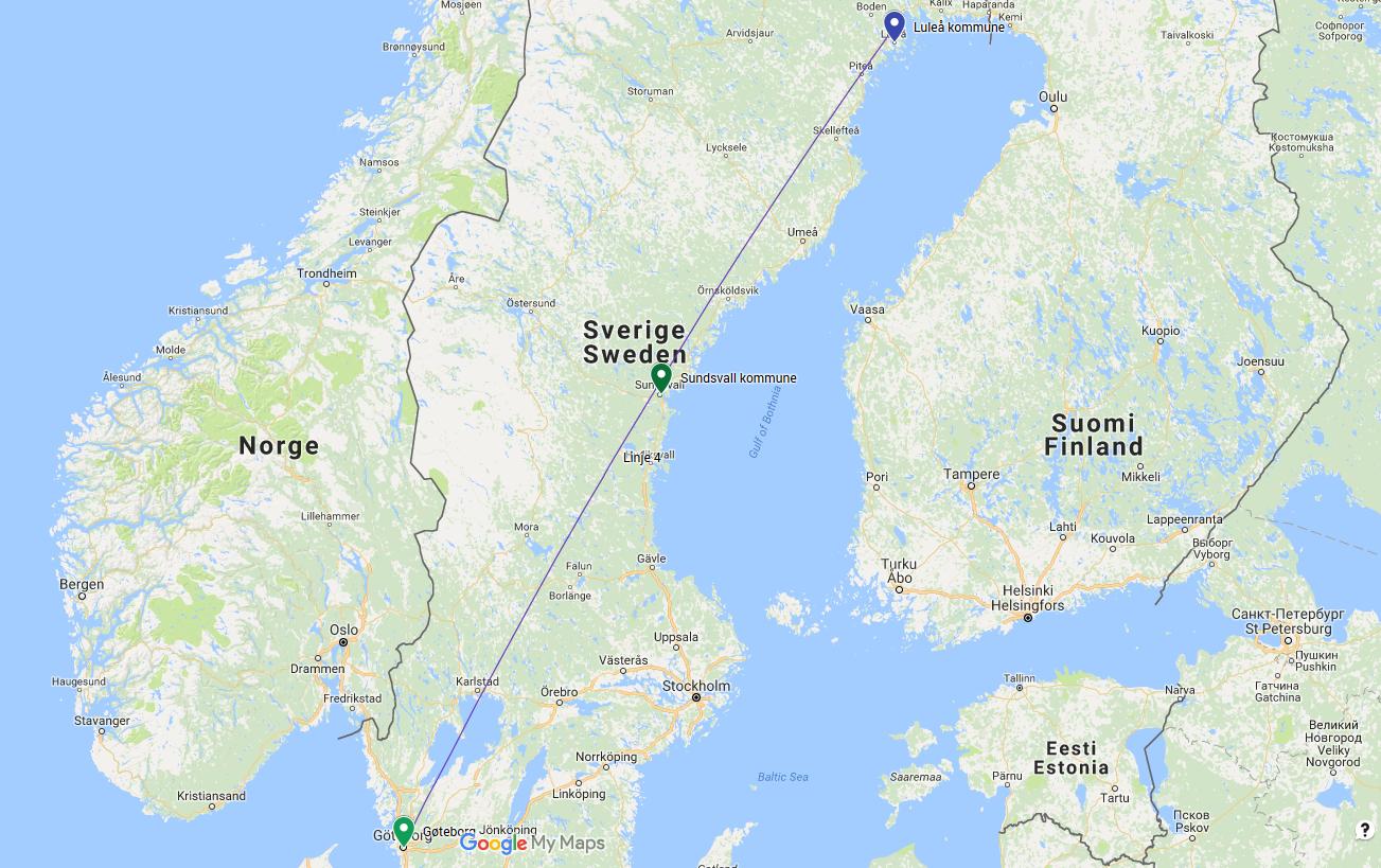 FEIL RETNING: Passasjerene skulle fra Sundsvall til Göteborg. Likevel landet flyet nord i Sverige, i Luleå.