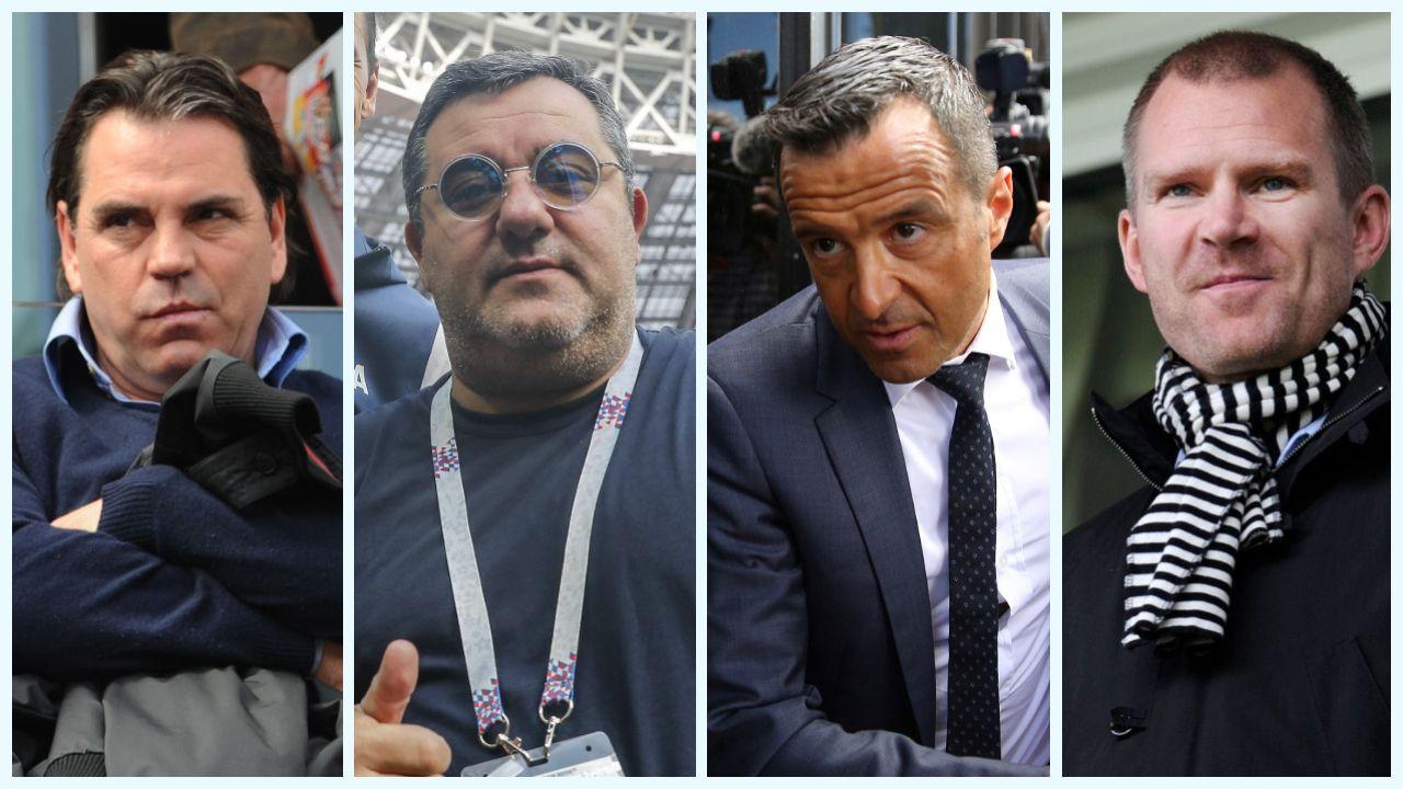 STERKE BAKMENN:  Fra venstre tyske Volker Struth, nederlandsk-italienske Mino Raiola og portugisiske Jorge Mendes er alle på «topp 10» på Forbes-listen over 2018 s største fotballagenter. Jim Solbakken (til høyre) er ikke helt der oppe, men han gjør også store penger.