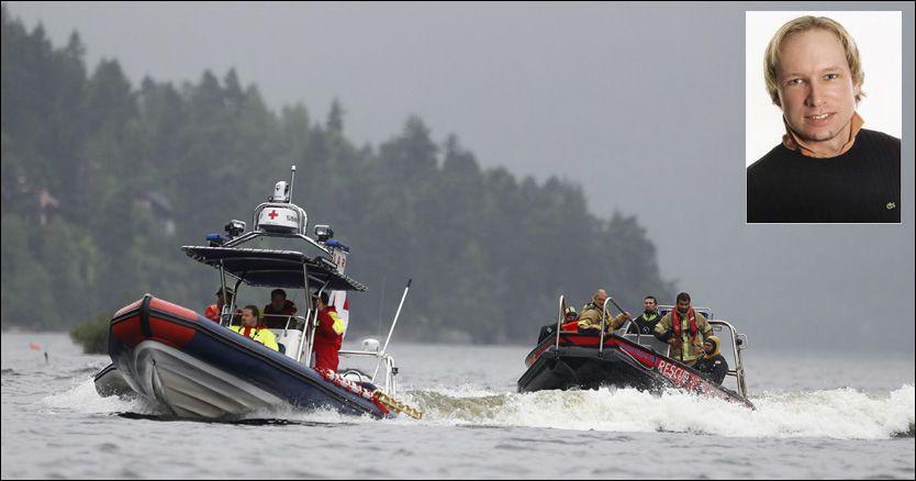 JOBBET PÅ STEDET: Både politi og redningsmannskaper (bildet) fortsetter operasjonen på Utøya lørdag. Politiet frykter at Anders Behring Breivik (innfelt) ikke var alene under skytemassakeren. Foto: JØRGEN BRAASTAD / PRIVAT
