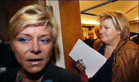 SIV OG ERNA: Fremskrittspartiet er større en Arbeiderpartiet på en ny måling InFact har gjort for VG. Foto: SCANPIX