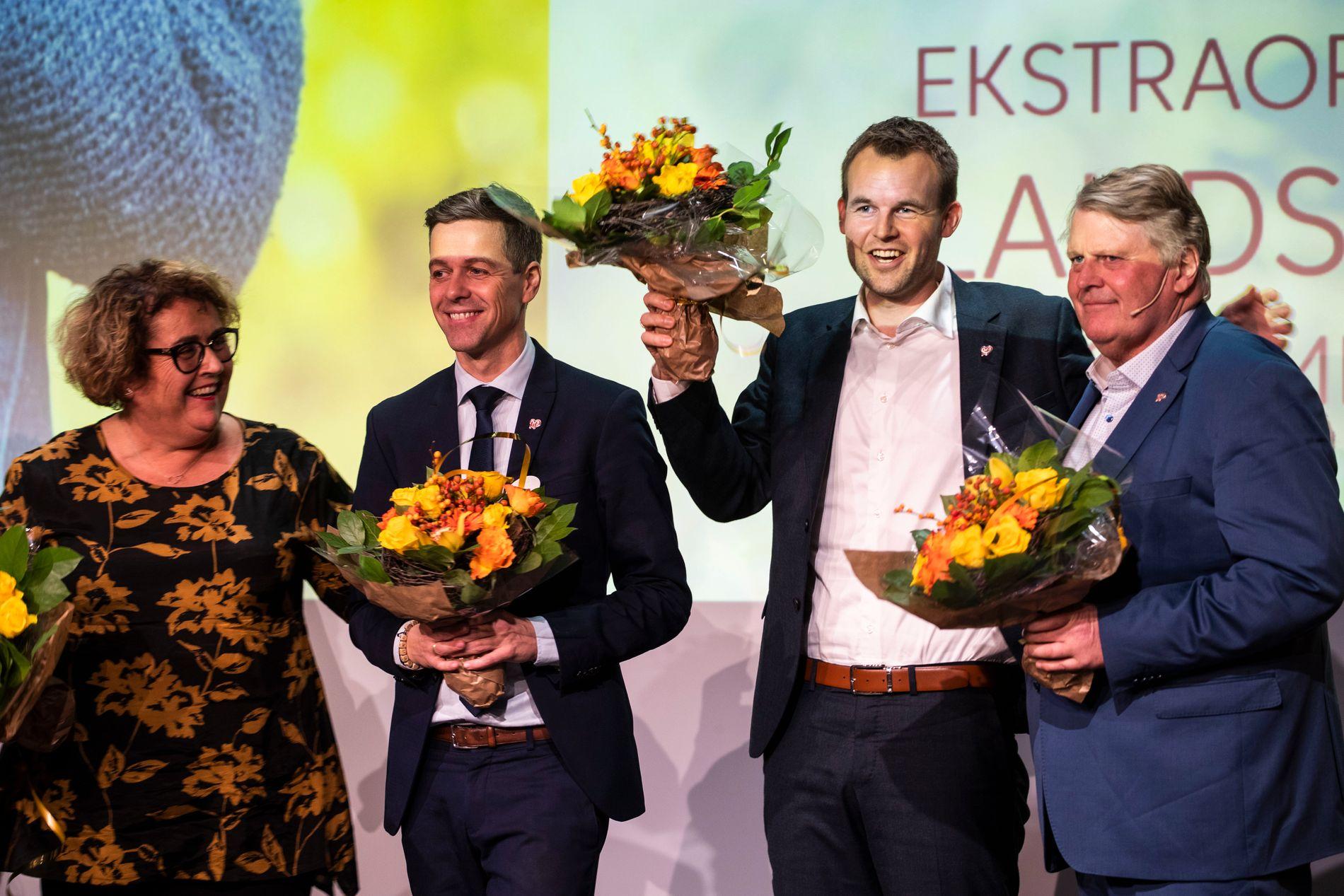 FIRE NYANSER AV KRF: Førstenestleder Olaug Bollestad, partileder Knut Arild Hareide, andrenestleder Kjell Ingolf Ropstad og Hans Fredrik Grøvan.