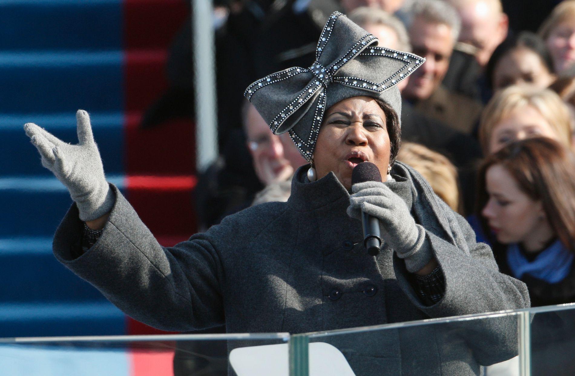 SANG FOR OBAMA: Franklin fikk æren av å synge under Barack Obamas innsettelse i januar 2009.