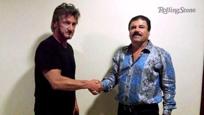 HÅNDTRYKKET: Skuespiller Sean Penn møtte narkobaronen Joaquin «El Chapo» Guzmán i oktober for et intervju i Rolling Stone.
