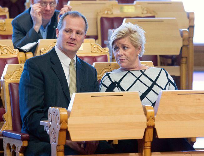 AMERIKA-BREV: Samferdselsminister Ketil Solvik-Olsen og finansminister Siv Jensen under finansdebatten i Stortinget i Oslo SIST torsdag.