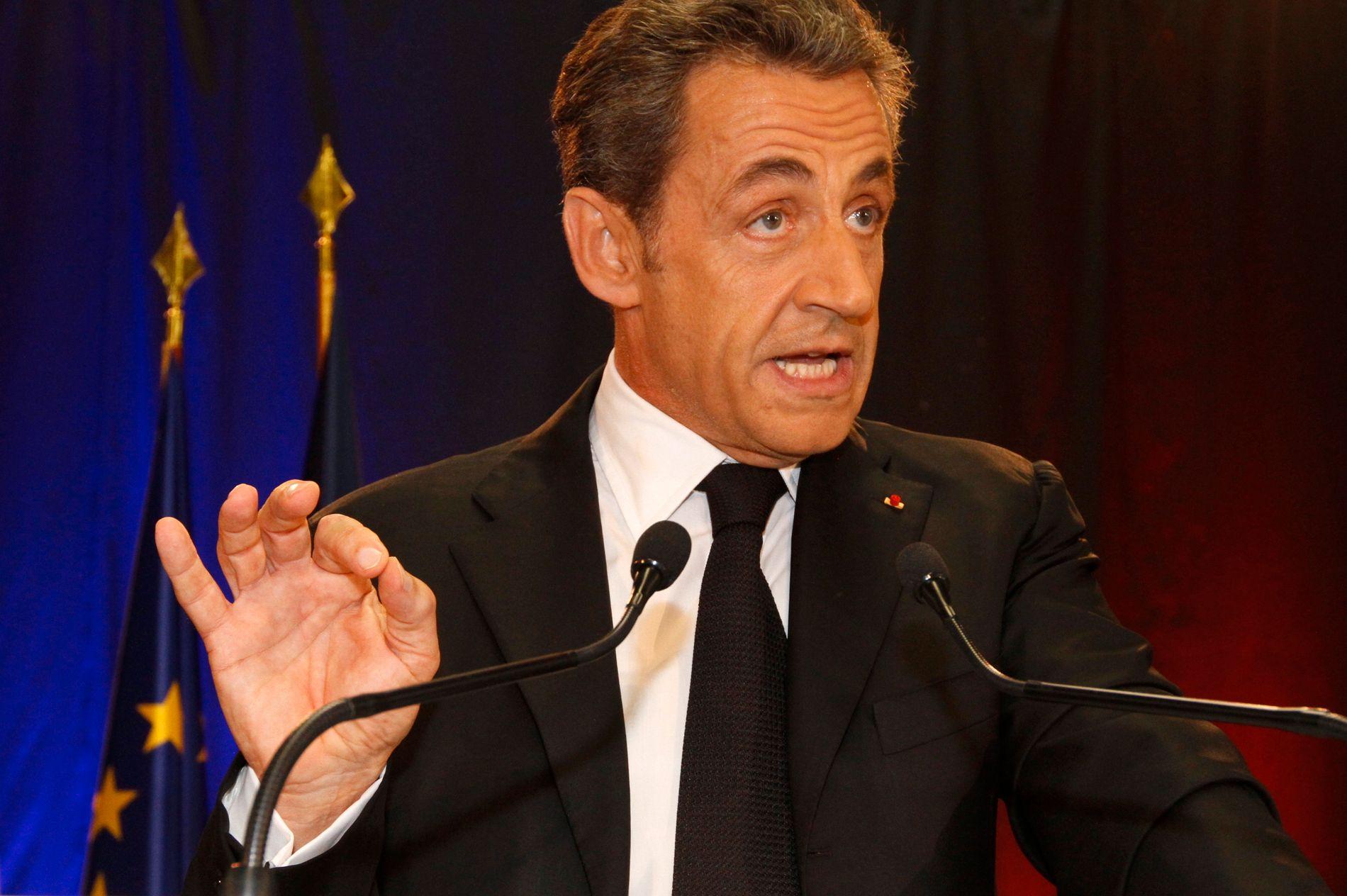VARETEKTSFENGSLET: Frankrikes tidligere president  Nicolas Sarkozy. Her under et intervju i 2014.