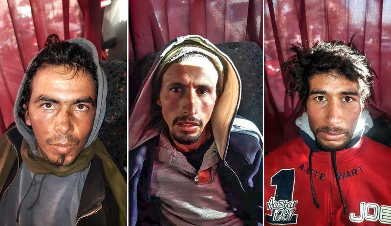 PÅGREPET: Dette er tre av de drapsmistenkte mennene. De ble pågrepet i en buss i sentrum av Marrakech.