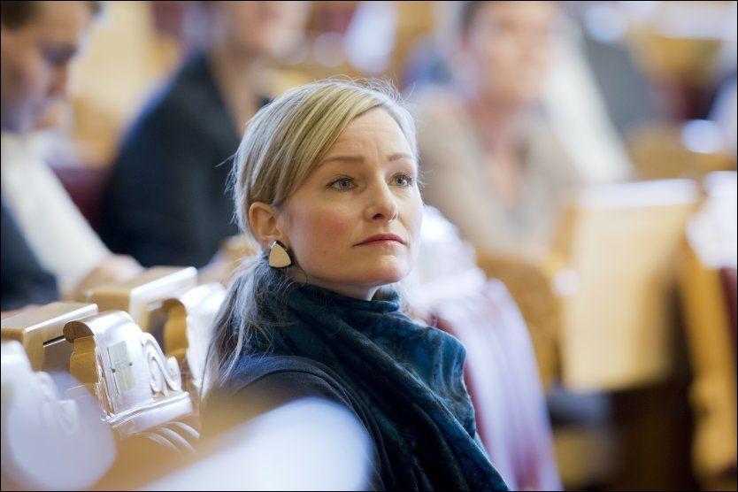 Barne-, likestillings- og inkluderingsminister Inga Marte Thorkildsen (SV) under trontaledebatten på Stortinget i forrige uke. Foto: Heiko Junge / NTB scanpix