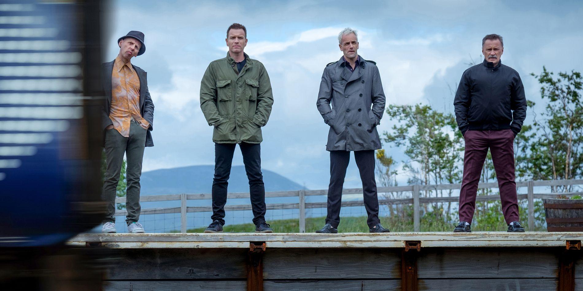 NITTITALLSNOSTALGI: Ewen Bremner, Ewan McGregor, Jonny Lee Miller og Robert Carlyle i «T2 Trainspotting». FOTO: United International Pictures