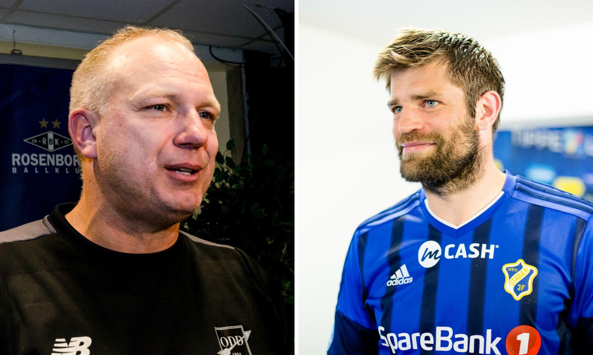 ERTER ODD: Stabæk-kaptein Morten Skjønsberg sender et stikk i retning Odd-trener Dag-Eilev Fagermo før Eliteserie-start.