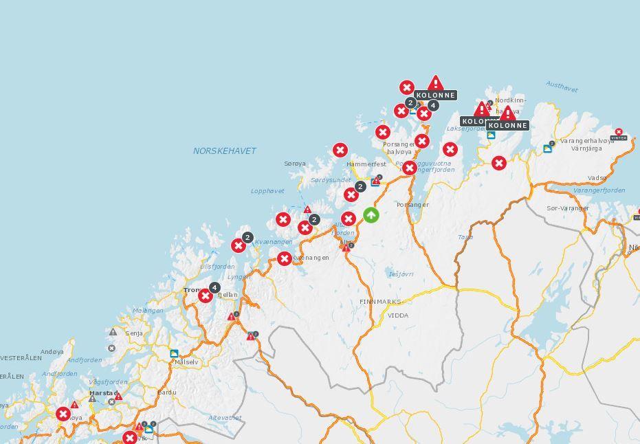 STENGTE VEIER: Langfredag er 28 veistrekninger i landets to nordligste fylker stengt på grunn av skred eller fare for skred.