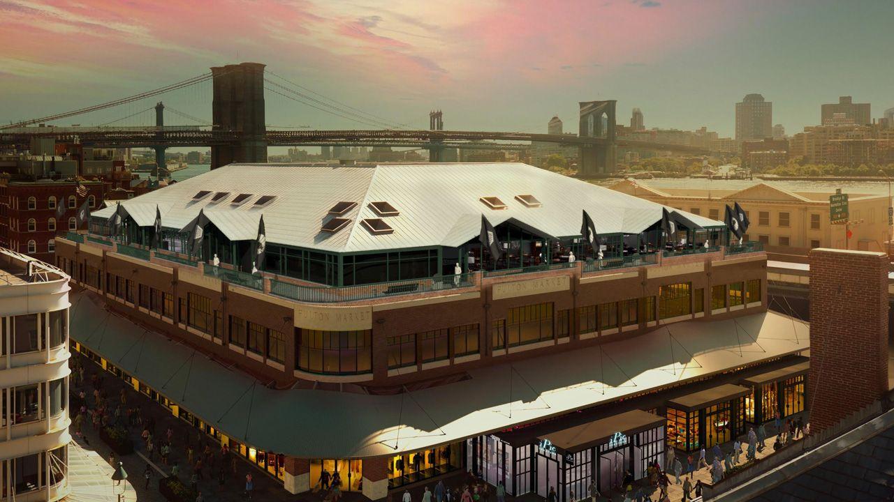 TIL Å BLI MATT AV: I dette bygget på Manhattan i New York skal Magnus Carlsen møte Sergej Karjakin til VM-match i november. Verdenskjente Brooklyn Bridge i bakgrunnen.
