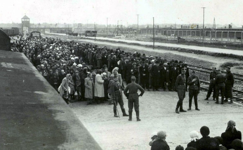 ANKOMSTEN: Arbeidsføre menn i den ene køen, resten i den andre. Dette bildet viser jøder fra Ungarn senere i krigen. Da de norske jødene ankom, var det mørkt. Foto: UKJENT, YAD VASHEM