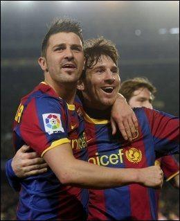 HELTENE: David Villa (t.v.) og Lionel Messi senket Bilbao. Foto: AFP