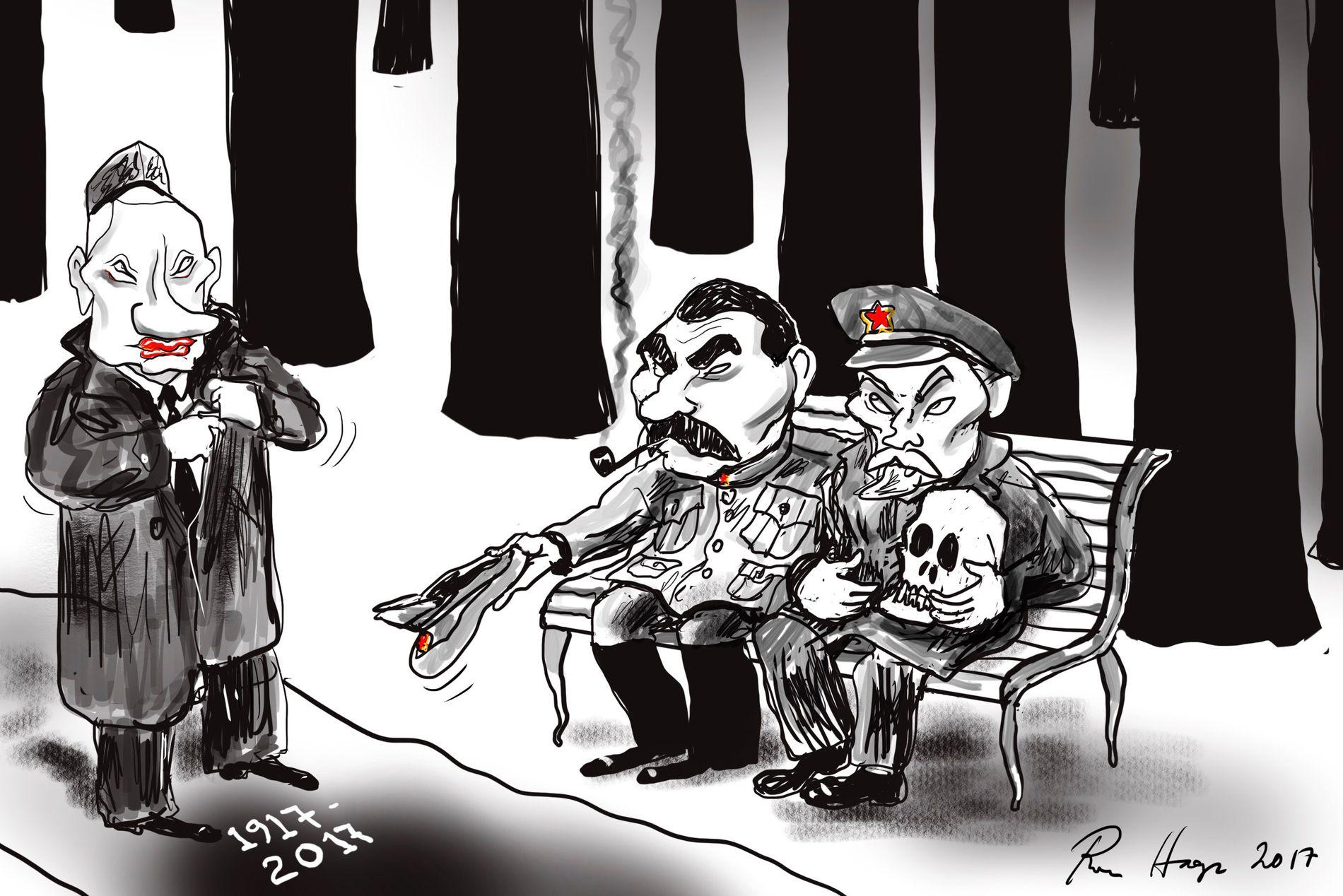 JUBILEUM: Revolusjonsjubileet slik VGs tegner Roar Hagen ser det. Fra v.: Vladimir Putin, Josef Stalin og Vladimir Lenin.