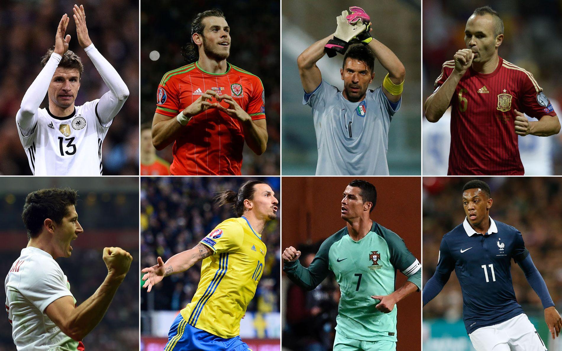 STJERNESPEKKET: Øverst fra venstre: Thomas Müller, Gareth Bale, Gianluigi Buffon og Andrés Iniesta. Nederst fra venstre: Robert Lewandowski, Zlatan Ibrahimovic, Cristiano Ronaldo og Anthony Martial.