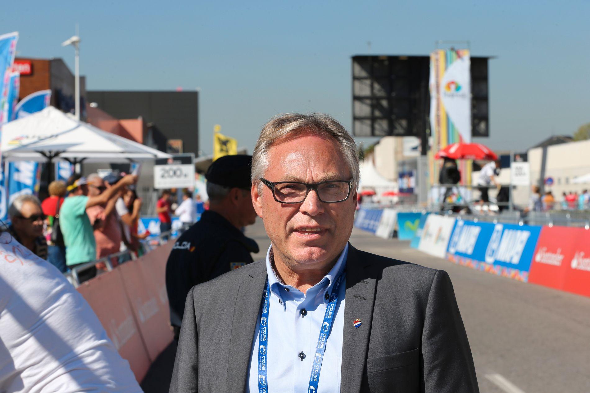 UNDER PRESS: Sykkelpresident Harald Tidemann Hansen under Sykkel-VM i Ponferrada i Spania i 2014.