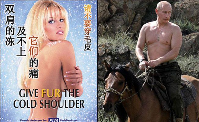 LETTKLEDDE DYREVENNER: Både Pamela og Vladimir er glade i dyr og begge kaster gjerne skjorta. Bildet av førstnevnte er tatt i forbindelse med en aksjon mot bruk av dyrepels i 2004, mens bildet av sistnevnte er fra en ridetur i Sibir for seks år siden.