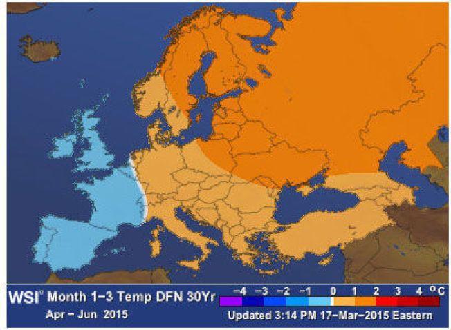 VARME I NORD OG ØST: Her er våren 2015 i følge amerikanske Weather Services International. Klart kjølig signal over England, Frankrike og Spania, varm i Nord-Norge og østover.
