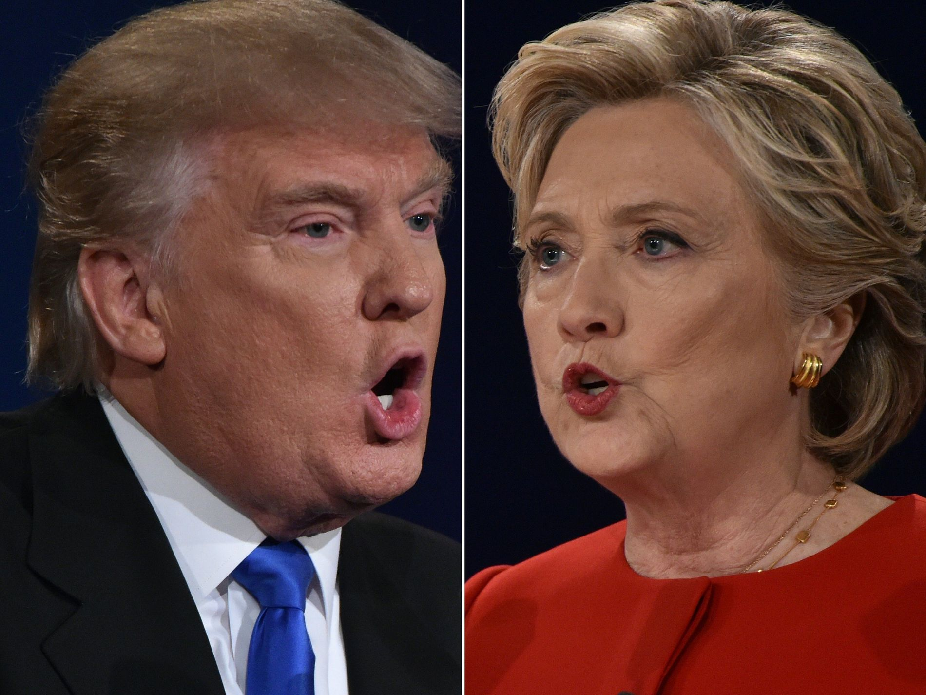 I DUELL: Republikanernes presidentkandidat Donald Trump og Demokratenes kandidat Hillary Clinton under debatten i New York natt til tirsdag norsk tid. FOTO: Paul J. Richards / AFP