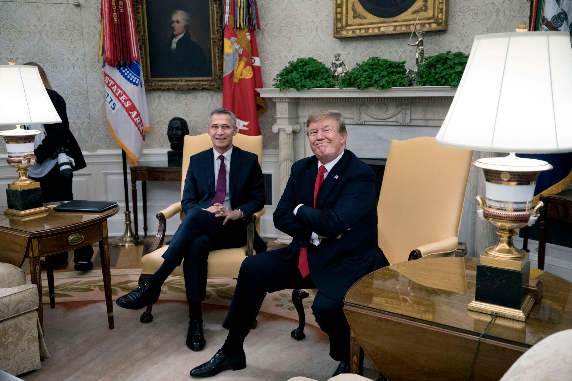 MØTTES: NATO-sjef Jens Stoltenberg og president Donald Trump møttes onsdag, dagen før Stoltenberg skulle tale for kongressen.