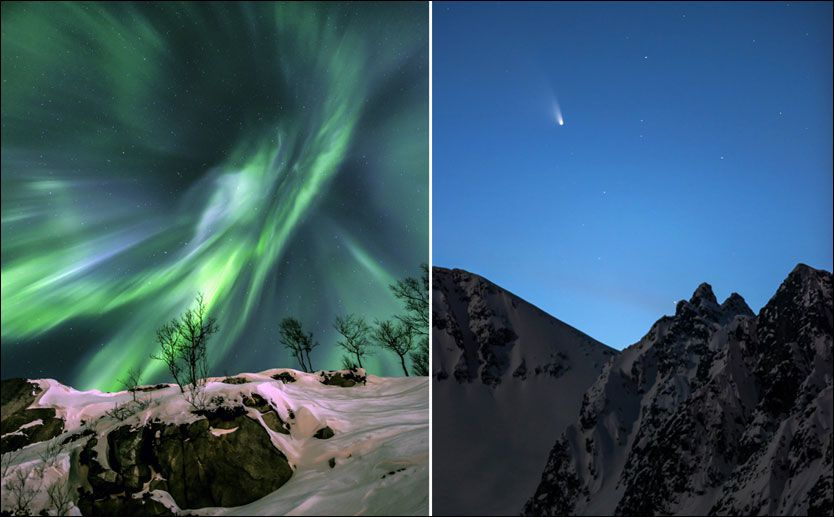 PRISBILDER: For disse to bildene fikk Tromsømannen Fredrik Broms andre- og tredjeplass i verdens mest prestisjefylte atronomifotokonkuranse.