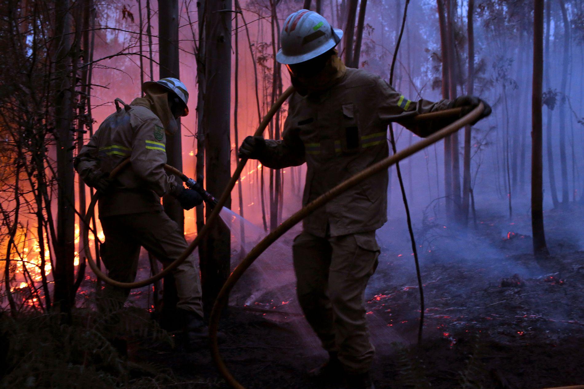 SLUKKER: Brannmannskap forsøker å slukke brannen som herjer i landsbyen Avelar, i den midtre delen av Portugal.