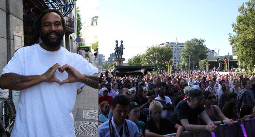 BERØRT: Ky-Mani Marley var tydelig berørt før han skulle opptre for tusenvis av nordmenn på minnekonserten til Melafestivalen på Rådhusplassen fredag. Foto: Isabelle Ringnes/ VG