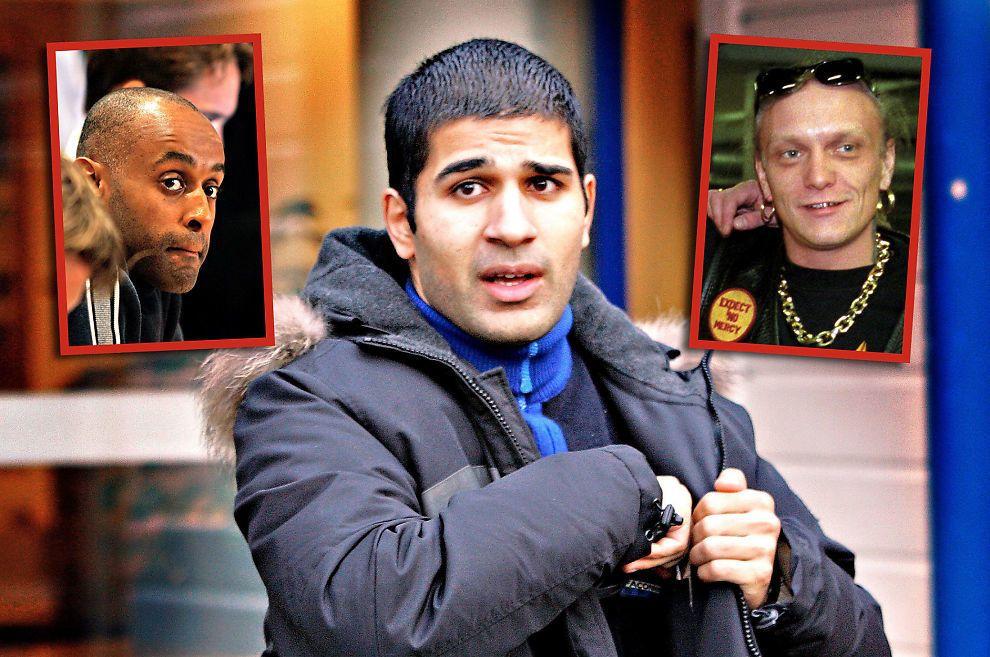 TREKANTDRAMA: Politiet mener Nokas-raneren Metkel Betew (t.v.) og Bandidos-profilen Lars Harnes (t.h.) skal ha la drapsplaner mot Imran Saber (i midten) gjennom flere møter i Oslo og omegn.