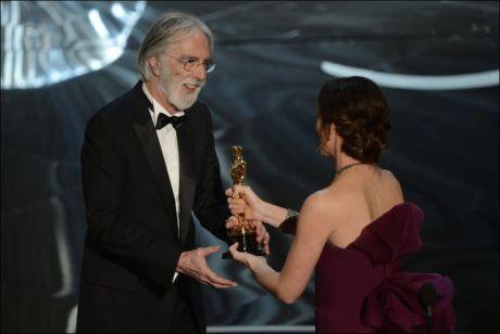 VANT:Michael Haneke får Oscaren for beste fremmedspråklige film for «Amour». Foto: AFP