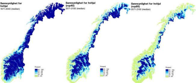 SLIK HAR DET VÆRT OG SLIK KAN DET BLI: Det første viser Norge slik det har vært frem til 2000. De to neste viser hvordan det kan bli med begrenset oppvarming og med stor oppvarming. I sistnevnte scenario vil snø bare forekomme på fjellet.