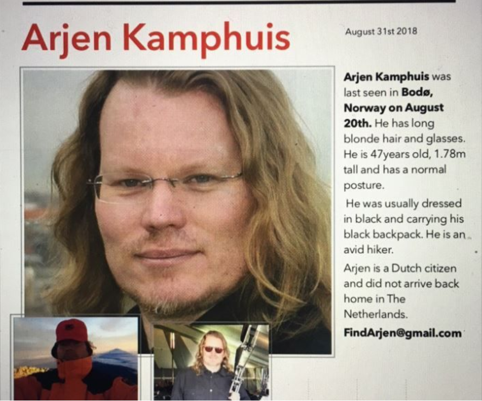 SAVNET: Arjen Kamphuis (47) was shown for the last time when he left a hotel in Bodø on 20 August. Photo: Screenshot / Twitter / @ ncilla