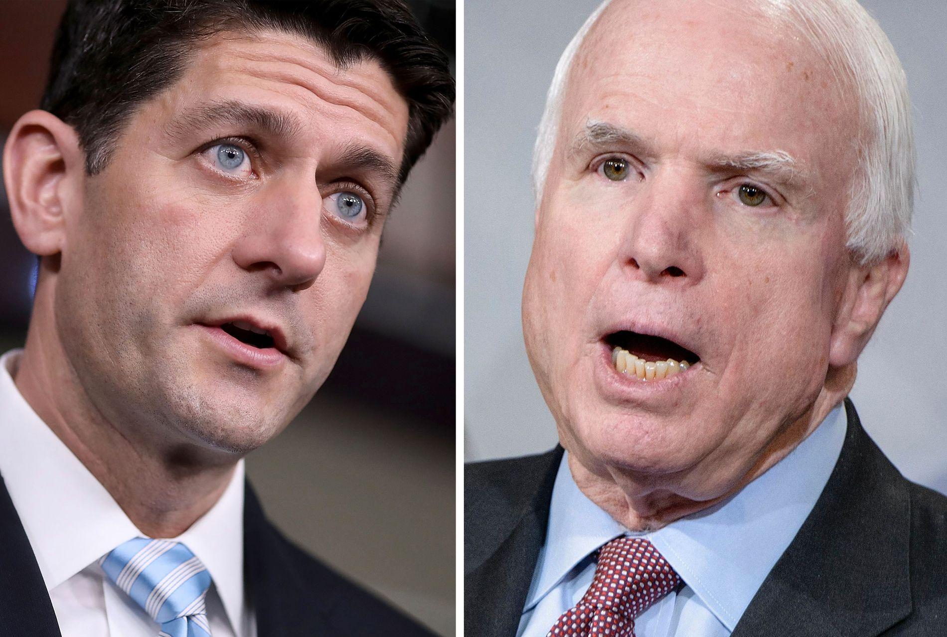 MISFORNØYDE: Leder i Representantenes hus, Paul Ryan, og Arizona-senator John McCain.