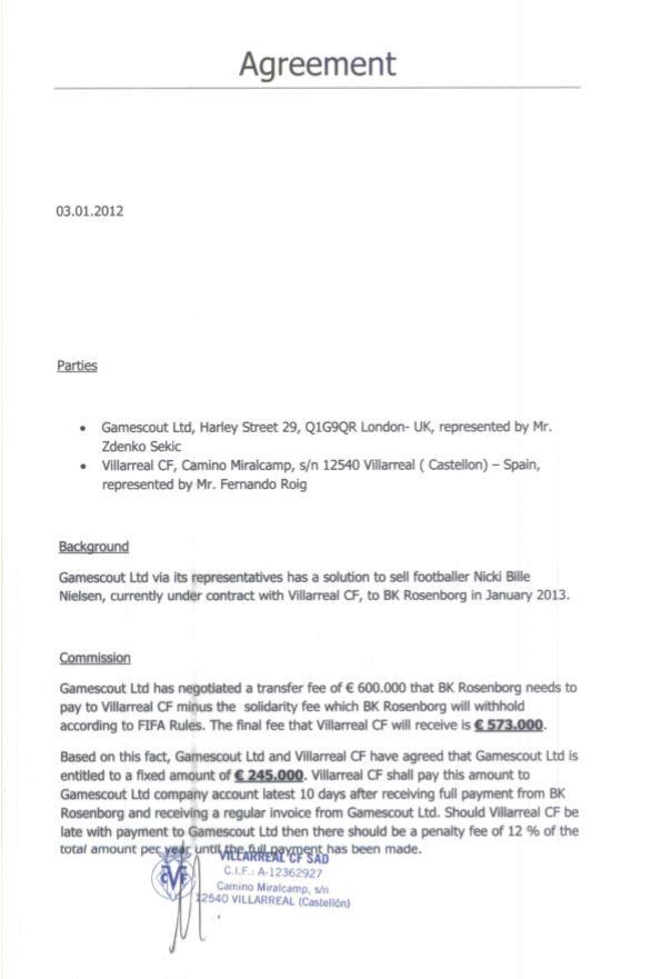 KONTRAKT: Her er kontrakten mellom Villarreal og agentselskapet Gamescout, der Jozo Palac jobbet. Den forteller at partene er enige om et agentsalær på 245.000 euro etter salget av Nicki Bille Nielsen til Rosenborg. Jozo Palac var imidlertid Rosenborg sin representant i overgangen. Årstallet i kontrakten er feil, kontrakten ble utferdiget 3. januar 2013.