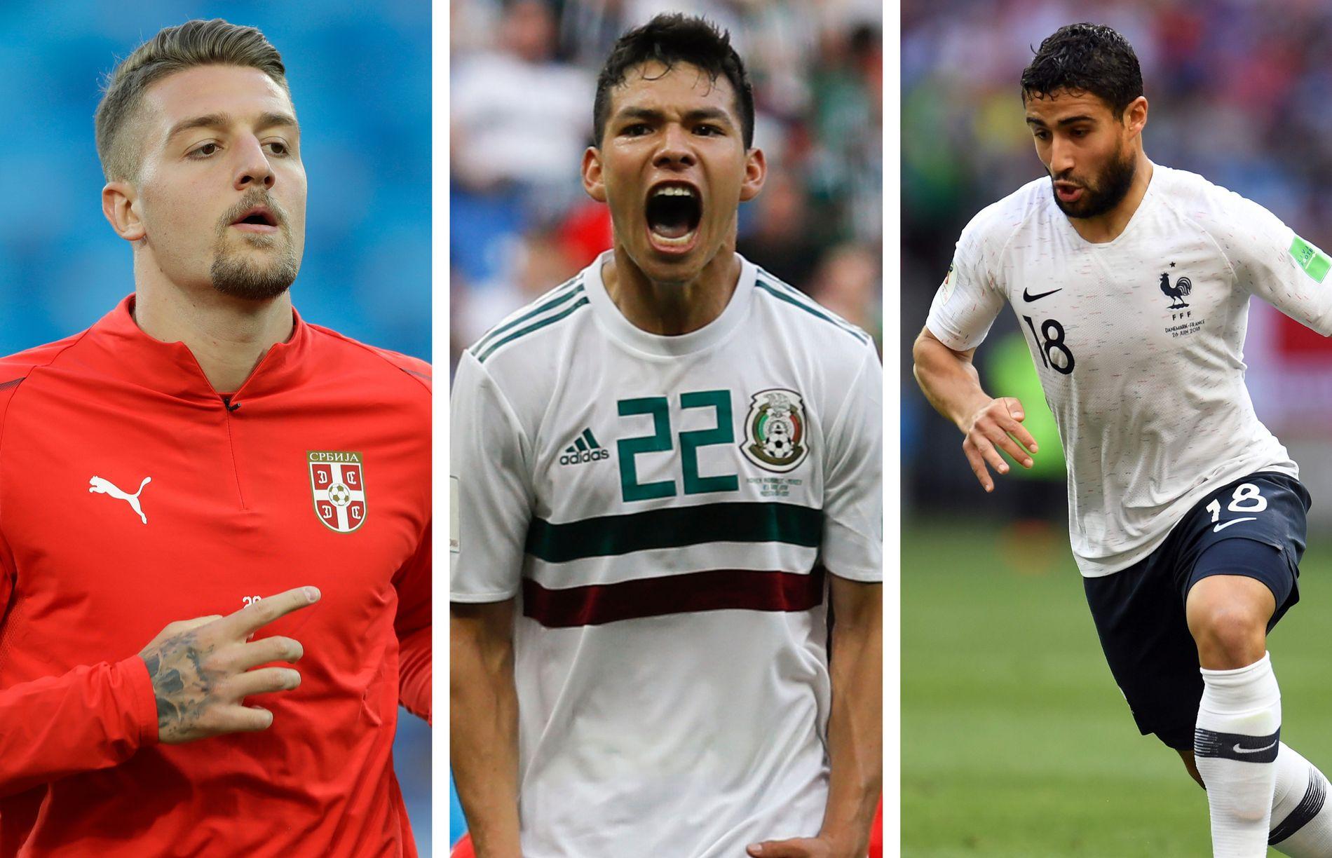 FRA VM TIL STORKLUBB? Sergej Milinkovic-Savic (f.v.), Hirving Lozano og Nabil Fekir er tre av VM-profilene som kan ta steget til en skikkelig storklubb denne sommeren.