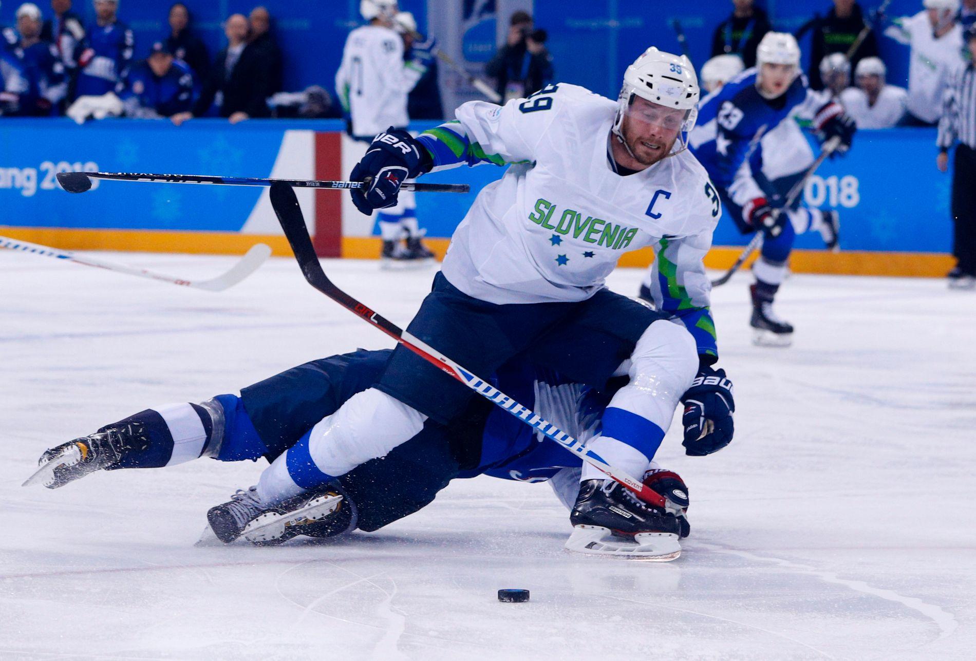 SLOVENIA-SUKSESS: Jan Mursak (30) har er nummer tre på toppscorer og målpoenglisten etter tre kamper i OL. Tirsdag må Norges ishockeylandslag stoppe Slovenias kaptein for å avansere til kvartfinalen.
