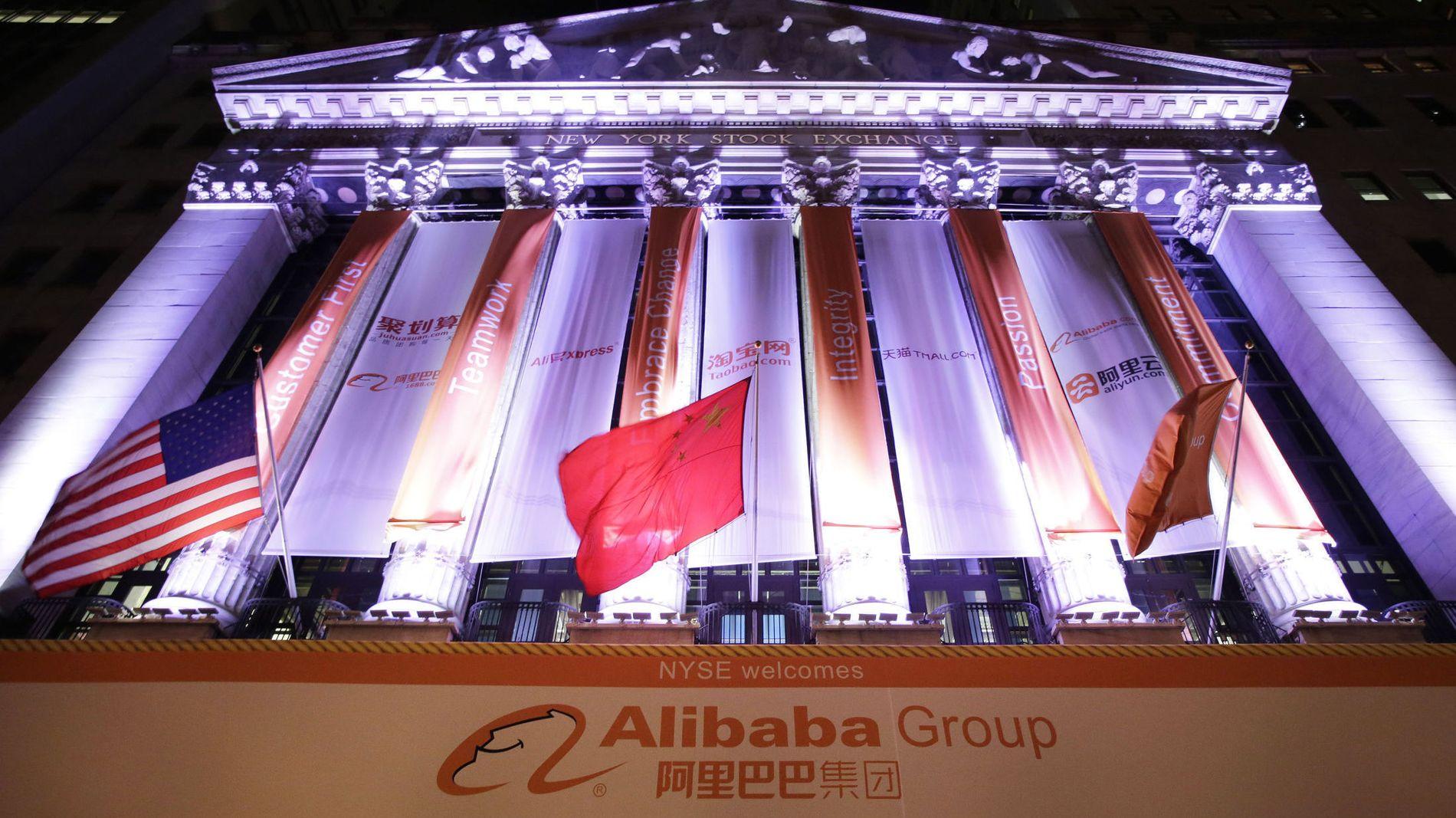 PYNTET FOR NOTERING: New York-børsen har pyntet seg før Alibaba-handelen starter fredag ettermiddag norsk tid.