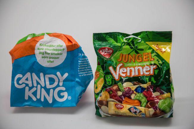 ULIK PRIS: Disse to godteposene veier begge 220 gram, men har som følge av prisekrigen på smågodt to vidt forskjellige priser.