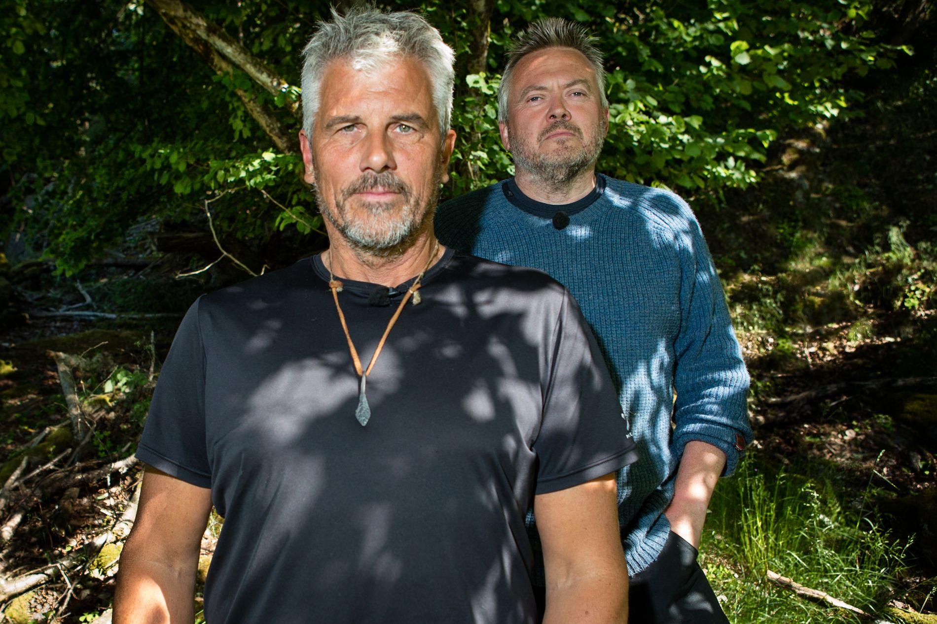 MOTSTANDERE: Jarl Goli (59) og Lars Barmen (53) møtte hverandre i tvekamp i søndagens episode av «Farmen kjendis».