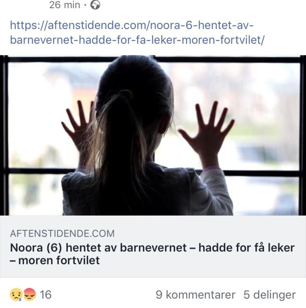 IKKE SANT:  Bildet av Noora er fra et kommersielt arkiv for illustrasjonsbilder, og barnevernlederen som er sitert i saken finnes ikke, skriver Faktisk.no.