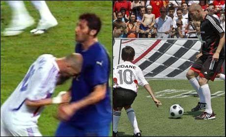 UFORGLEMMELIG ØYEBLIKK: Zinedine Zidane skaller ned Marco Materazzi under VM-finalen i 2006. Til høyre er franskmannen i aksjon i litt vennligere former, under søndagens fotballoppvisning i Wien. Foto: AFP/EPA